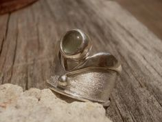 WINGS  Aquamarine sterling silver ring by SILVERSTONEbyRenata