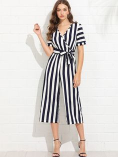21d3221eb8c Shop V Neckline Self Tie Waist Striped Jumpsuit online. SheIn offers V  Neckline Self Tie Waist Striped Jumpsuit   more to fit your fashionable  needs.