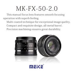 80.00$  Buy now - http://ali8fu.worldwells.pw/go.php?t=32703375812 - NEW Camera Lens Meike MK-E-50-2.0 50mm f2 f/2.0 fixed manual large aperture lens FUJI Camera lens 80.00$