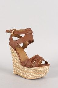 Qupid Collide-20 Strappy Open Toe Platform Wedge Sandal