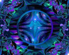 Blue Decor, Angel Art, Spiritual Wall Decor, Reiki Energy Art