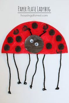 Paper Plate Ladybug ~ simple spring kids craft crafts for kids to make, craft ideas for kids Paper Plate Crafts For Kids, Spring Crafts For Kids, Summer Crafts, Projects For Kids, Art For Kids, Summer Kids, Daycare Crafts, Classroom Crafts, Toddler Crafts