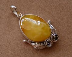 Baltic Amber Pendant Butterscotch Silver 2.3 925 by AmberRegina, $126.00