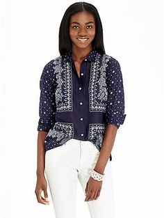 Womens Bandana-Print Shirts Loved and repinned by Hattie Reegan's www.etsy.com/shop/hattiereegans
