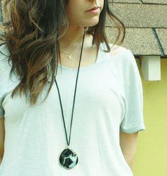 Black agate druzy geode pendant boho necklace  by daylightderived