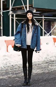 denim jacket shearling streetstyle - Google Search
