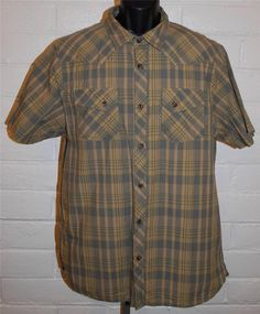 The North Face Mens Button Front Shirt Size Large Plaid Short Sleeve 100% Cotton #TheNorthFace #ButtonFront