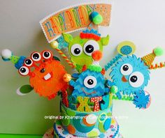 Little Monsters Birthday cake topper or party centerpiece | kharygoarts - Children's on ArtFire