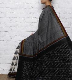 Black & White Cotton Ikat Saree