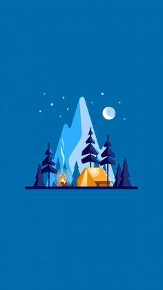 ClearSky Camp iPhone wallpaper - My Outdoorr Illustration Design Graphique, Art Et Illustration, Landscape Illustration, Iphone Wallpaper Illustration, Cute Wallpapers, Wallpaper Backgrounds, Iphone Wallpapers, Natur Wallpaper, Camping Wallpaper