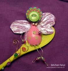 A fun Mother's Day or anytime gift, this little fairy perches on a wooden spoon. Created by Candace Jedrowicz for Cool2Craft.com.