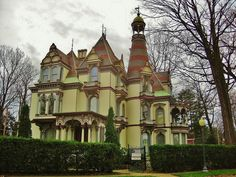 "The George S. Batcheller Mansion circa 1873 in Saratoga Springs NY. Designed by Nicols and Halcott of Albany, this High Victorian Gothic mansion exhibits influences from the French Renaissance, Italian, and Egyptian styles. Batcheller named the home, ""Kaser-el-Nouzha"", Arabic for palace of pleasure."