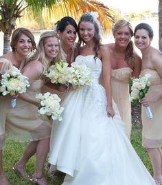 Beige bridesmaid dresses by Amsale