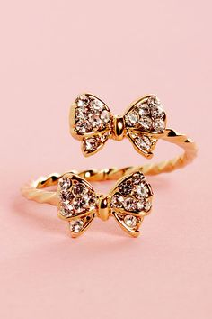 Gold Bow Rhinestone Ring