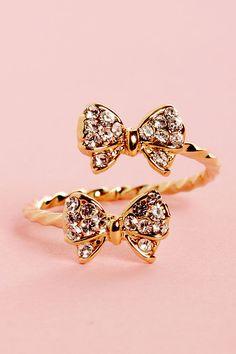 Pretty Gold Ring - Rhinestone Ring - Bow Ring