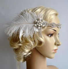 Rhinestone Headband headpiece with feathers by FabulousStyleDesign