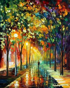 Green dreams Artwork by Leonid Afremov Hand-painted and Art Prints on canvas for sale,you can custom the size and frame