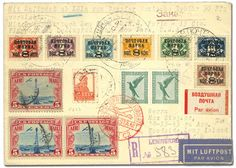 """Russia, 1931, """"Bremen"""" Catapult Flight to New York, extraordinary registered cover flown from Leningrad to Berlin and then on to Cherbourg where placed on """"Bremen"""" to New York. Catapult flight from """"Bremen"""" to New York. Berlin transit postmark of August 27 on back cancels block of 5Pf German stamps. Backstamped NY Registry Division September 4. Luposta (Danzig) 1932 advertising label on back. Without catapult cachet due to no space on cover for application. Rare acceptance. Very Fine…"""