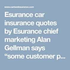 """Esurance car insurance quotes by Esurance chief marketing Alan Gellman says """"some customer prefer a local agent to physically walk them through the process and then there are self-directed customers who only want help if they need it http://www.carbestinsurance.com/esurance.html"""