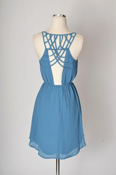 Caged In Dress - Blue