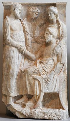 Funerary stele, Greek relief (marble), 4th century BC, (Metropolitan Museum of Art, New York).