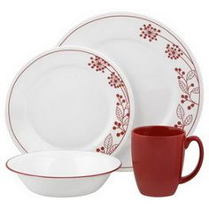 CORELLE 1089392 Vive Berries and Leaves 16-pc Set   #Corelle