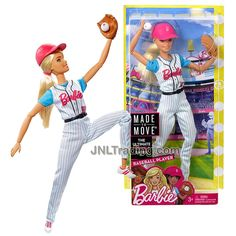 Year 2016 Barbie Made To Move You Can Be Anything Series 12 Inch Doll - Caucasian BASEBALL PLAYER in #59 Uniform with Baseball, Mitt Glove and Helmet Barbie Doll Set, Barbie Sets, Barbie 2000, Doll Clothes Barbie, Barbie And Ken, Barbie Made To Move, Softball, Baby Doll Furniture, Barbie Fashionista
