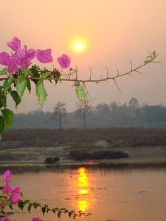 Sunset over the Mekong in Laos (with a view of Thailand)