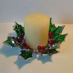 Stained Glass Holly Candle Holder & Candle Set