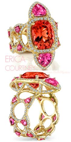 ERICA COURTNEY | Tiger Lily Ring | 18K Yellow gold ring  featuring a 5.49 ct. Pink Spinel, 1.49 ctw. of Pink Tourmalines, 1.35 ctw. of Diamonds and 1.26 ctw. of Rubellites | La Beℓℓe ℳystère