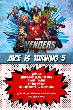 The Avengers Birthday party Invitation 3 by TamiRayCardsandPrint, $11.00