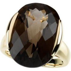 14k Yellow Gold Ring featuring an Oval GENUINE Checkerboard Smokey Topaz Quartz = 15 CARATS! Available now in size 7.  *if you need your ring in a different size, we can resize the ring quickly and for a competitive fee. Please email us here with the product info and we will get back to you immediately! (Ring resizing