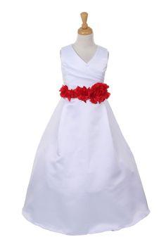 Girls Long White Pleated Dress with Red Sash and Flower Red Flower Girl Dresses, Girls Formal Dresses, Ivory Dresses, Fall Dresses, Cinderella Dresses, Floor Length Dresses, Red Flowers, Flower Petals, White V Necks