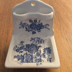 Vintage Crown Devon Blue Floral Soapdish & Toothbrush Holder C This is a rarer colour of this example. Cigarette Holder, Milk Jug, Home Decor Styles, Toothbrush Holder, Devon, Vintage Art, Porcelain, Pottery, Crown