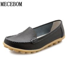 f640cdb57fb6 2018 New Leather Women Flats Moccasins Loafers Wild Driving women Casual  Shoes Leisure Concise Flat In