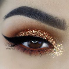 Copper and gold glitter for days #makeupforbrowneyes