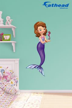 Need new decorating ideas for spring? Need to find a unique gift? Discover the perfect DIY Disney Princess peel and stick, removable wall decal for any bedroom, kitchen, family, office,  family room, playroom, and so much more! SHOP Fathead  http://www.fathead.com/disney/sofia-the-first/sofia-pearl-of-the-sea-mermaid-wall-decal/   Home Decor On A Budget  Disney Kids DIY Bedroom Decor   New Baby Ideas Wall Murals