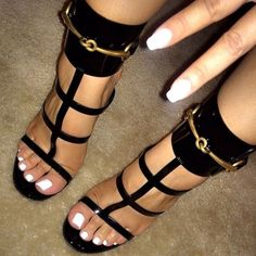 Punky Black Strappy Sandals #Sandals