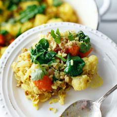 Aromatyczne biryani z indykiem, kalafiorem i szpinakiem Turkey Casserole, Rice Casserole, Biryani, Risotto, Potato Salad, Cauliflower, Spinach, Healthy Recipes, Healthy Food