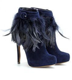Nicholas Kirkwood ~ Suede Ankle Boots with Belted Feather Trim