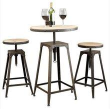 Американский кантри чердак стиле из кованого железа обеденный уголок комплект и комбинацию из твердой древесины кофе стол и стулья газлифт squa(China (Mainland))