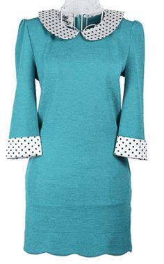 Turquoise Long Sleeve Contrast Polka Dot Collar Zip Back Dress