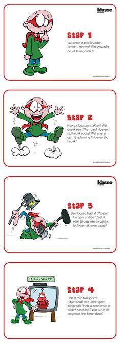 Je kind leert zelfstandig leren met een stappenplan dat structuur biedt. Print deze figuurtjes en hang ze boven de studietafel. Bouw ze ook in alledaagse situaties in en maak van je kind een echte probleemoplosser.