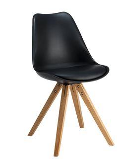 Stuhl AMATO, Eiche lackiert,Kunststoffschale gepolstert,Kunstleder schwarz