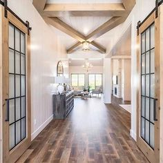 "Our project list marches on! One thing on the list.French Barn Doors like these beauties from !⠀ ⠀ ""Wait,"" you say. ""I thought you had French barn doors already? Vintage Farmhouse, Modern Farmhouse, Farmhouse Decor, Farmhouse Style, Modern Barn, Shiplap Ceiling, Ceiling Beams, Hallway Decorating, Entryway Decor"