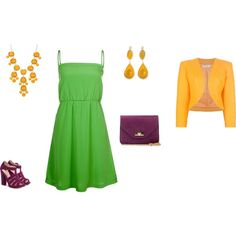 """Clear Spring - yellowgreen/purple/orangeyellow"" by adriana-cizikova on Polyvore"