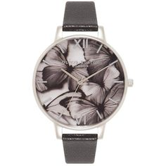 Olivia Burton Woodland Butterfly Watch - Black & Silver (€100) ❤ liked on Polyvore featuring jewelry, watches, dial watches, logo watches, monarch butterfly jewelry, butterfly jewelry and black and silver watches