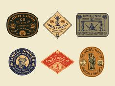 Lowell Herb Co Stickers designed by Jonathan Schubert. Connect with them on Dribbble; the global community for designers and creative professionals. Badges, Herb Co, Brand Stickers, Packaging Stickers, Retro Logos, Badge Design, Typography Logo, Lettering, Grafik Design