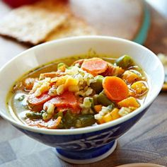 Chicken Dill Soup: A family-favorite recipe for a veggie-rich chicken soup with sweet potato, green beans, brown rice and a big hit of dill.  More soups and stews: http://www.midwestliving.com/food/soups/simmering-soups-stews-recipes/page/3/0