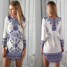 Hot Summer Sexy Women Long Sleeve Party Dress Evening Cocktail Casual Mini Dress Women Clothes Blue Floral Print Dress For Womens Clothing 2018 from wardrobediary, $9.95   DHgate Mobile